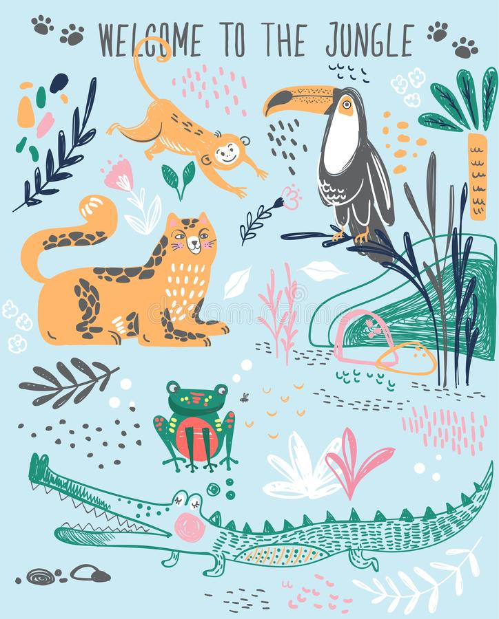 Impresión linda de la moda para la camiseta o desgaste casero, pijamas con los animales salvajes tropicales, plantas, poniendo le stock de ilustración