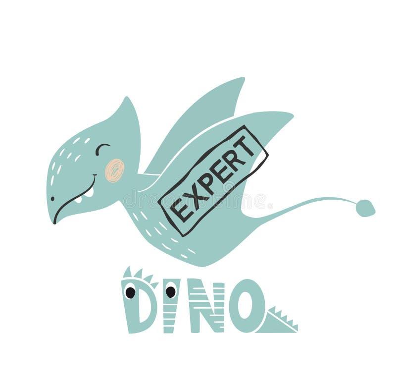 Impresión linda del bebé del dinosaurio Lema y letras expertos de Dino stock de ilustración
