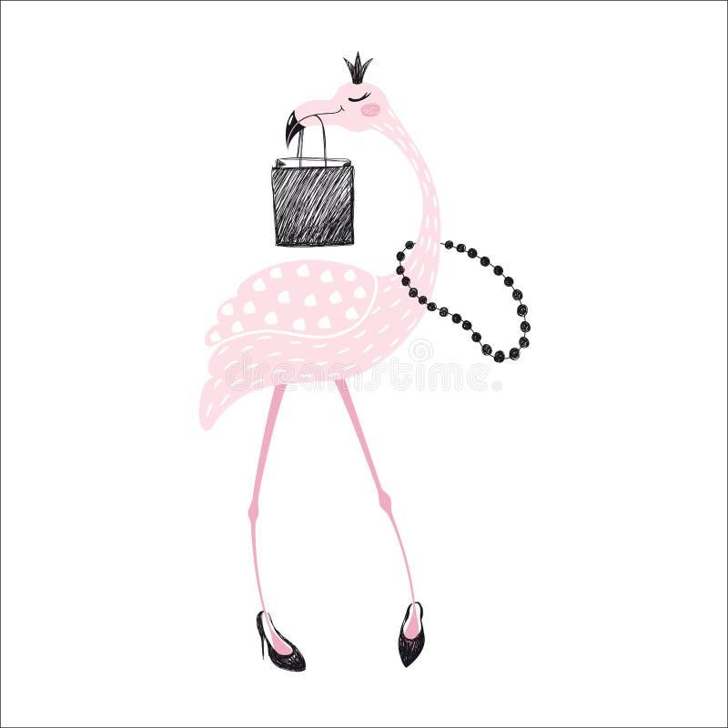 Impresión linda del flamenco stock de ilustración