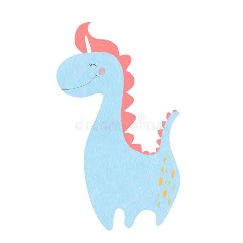 Impresión linda Dino del bebé del unicornio del dinosaurio con el cuerno libre illustration