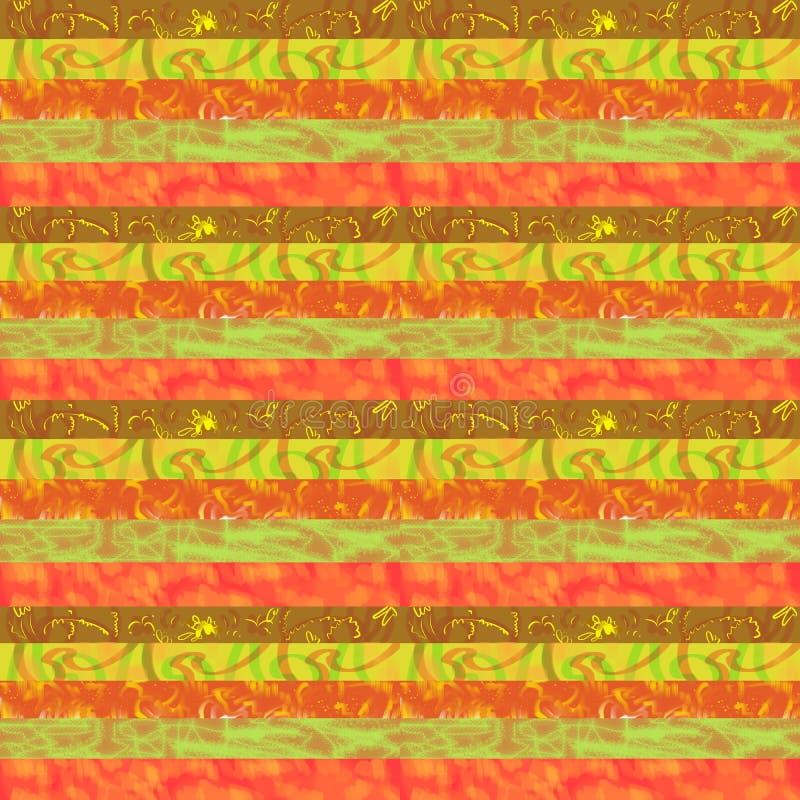 Impresión a mano para la tela en tonos rojo marrón calientes stock de ilustración
