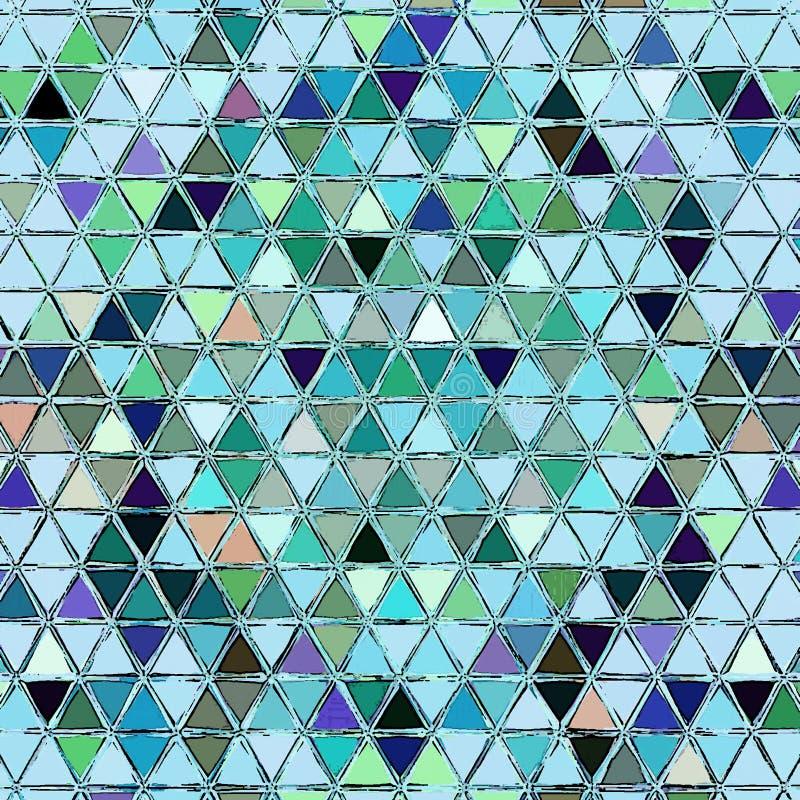 Impresión marroquí bohemia del mosaico de los triángulos de la acuarela en trullo, azul y blanco ilustración del vector