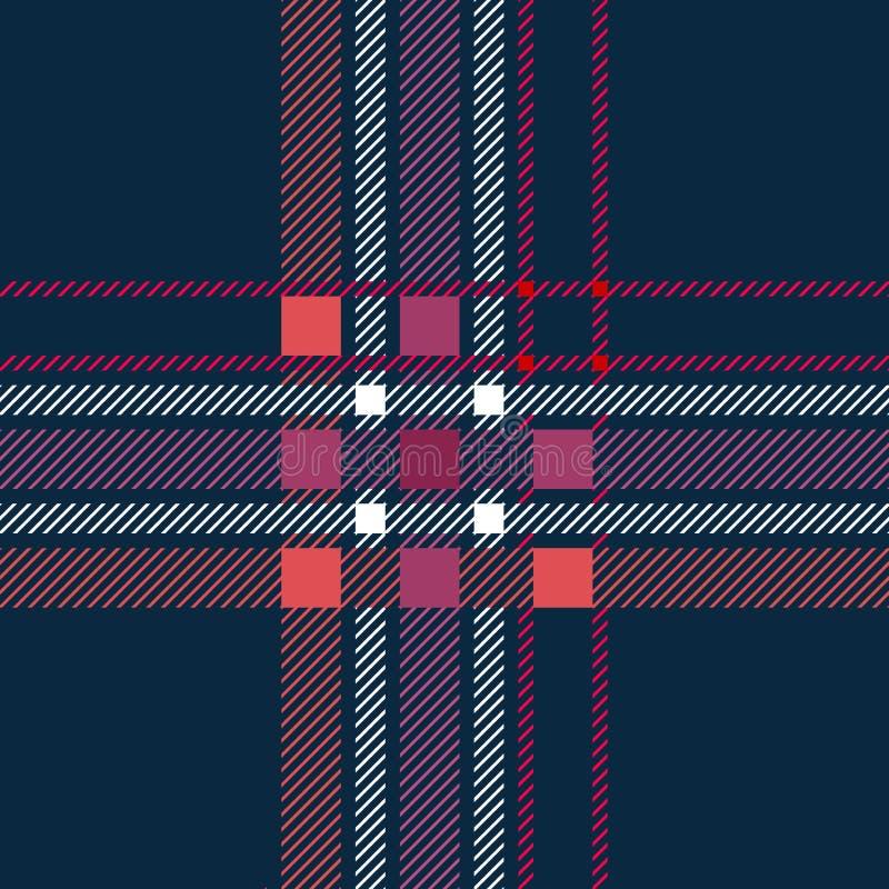 Impresión monocromática de la materia textil con los inspectores y las rayas ilustración del vector