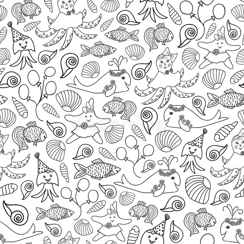 Impresión náutica del vector de los animales blancos y negros lindos stock de ilustración