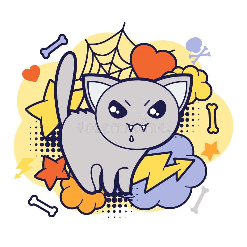 Impresión o tarjeta del kawaii de Halloween con garabato lindo ilustración del vector