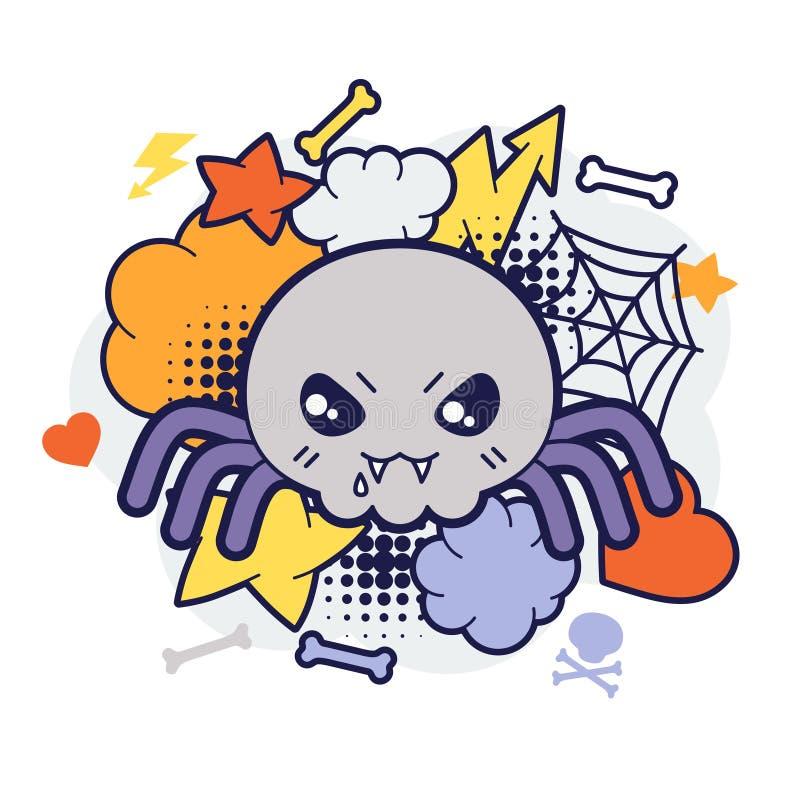 Impresión o tarjeta del kawaii de Halloween con garabato lindo libre illustration