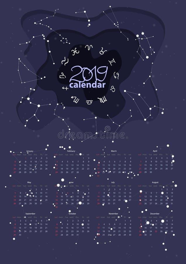 Impresión para el calendario de pared 2019 en estilo de la historieta con constelaciones y símbolos astronómico correctos de las  ilustración del vector