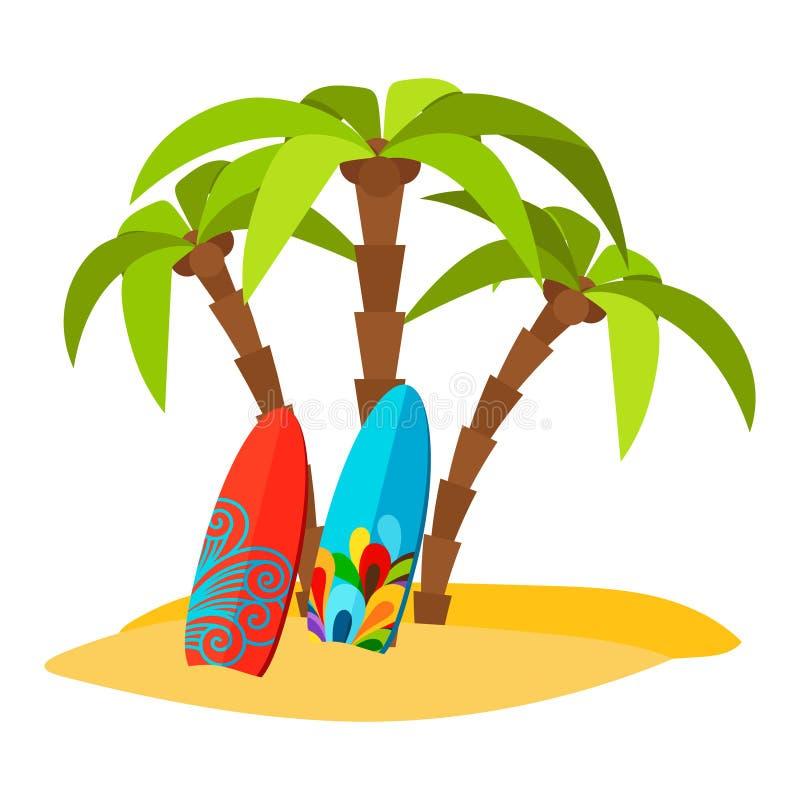 Impresión plana del vector pacífico de la playa que practica surf libre illustration