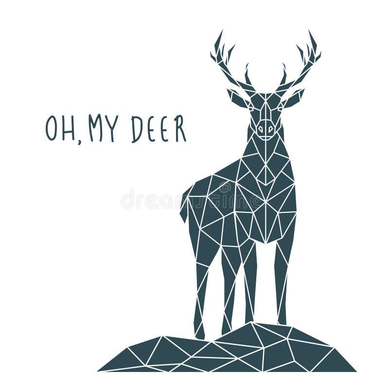 Impresión poligonal de los ciervos con las letras Cartel escandinavo del estilo stock de ilustración