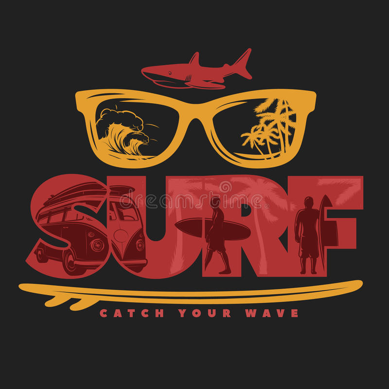Impresión que practica surf coloreada libre illustration
