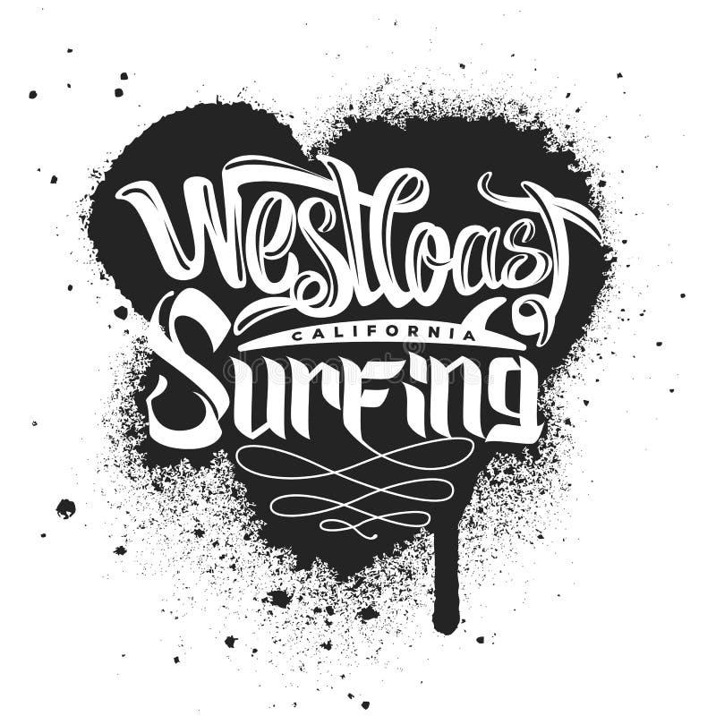 Impresión que practica surf de la costa oeste para la ropa ilustración del vector