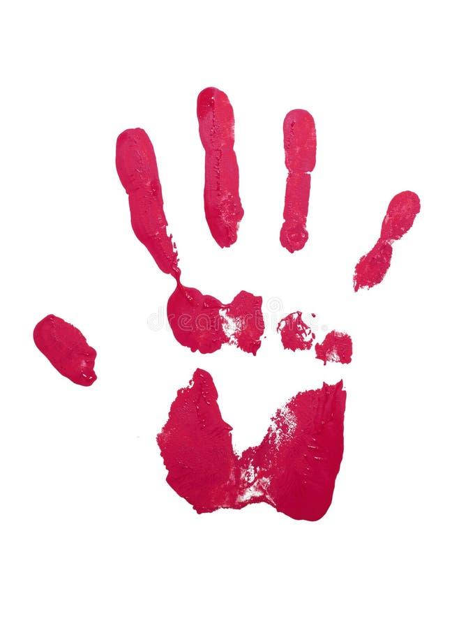 Impresión roja de la mano con el esmalte de uñas foto de archivo libre de regalías