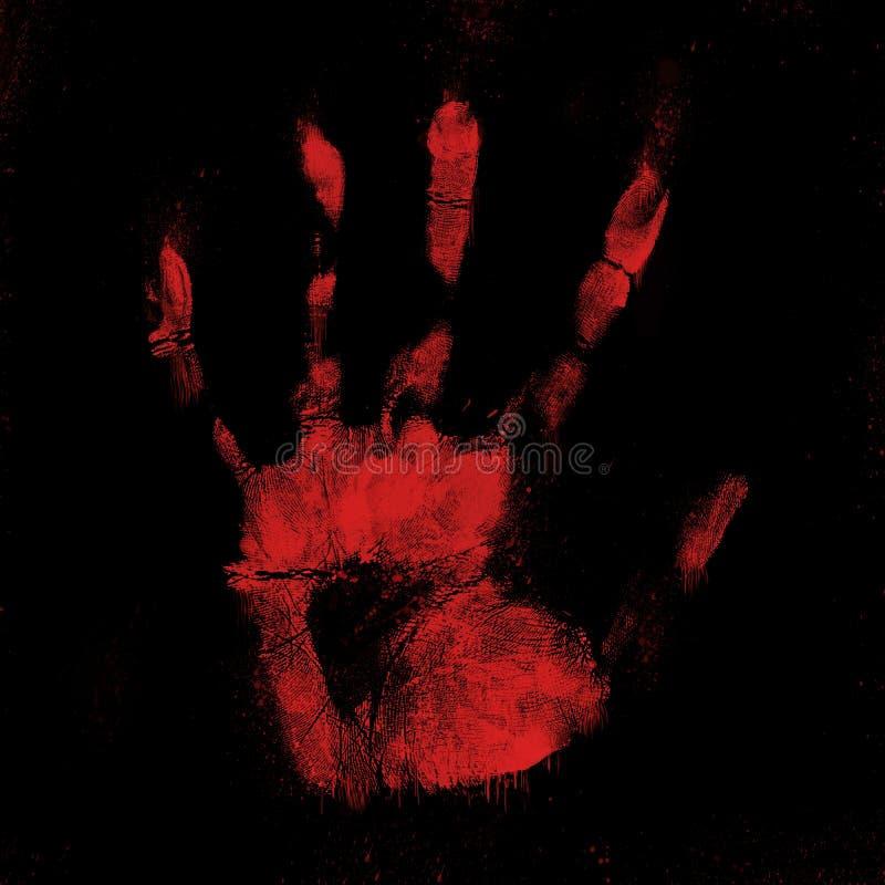 Impresión sangrienta asustadiza de la mano en fondo negro stock de ilustración