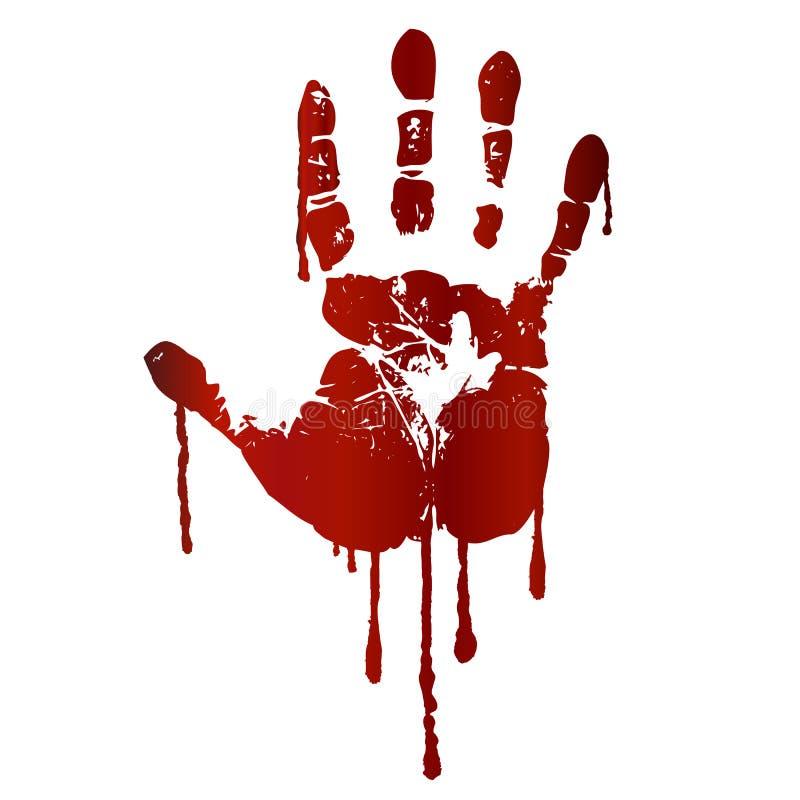 Impresión sangrienta de la mano ilustración del vector