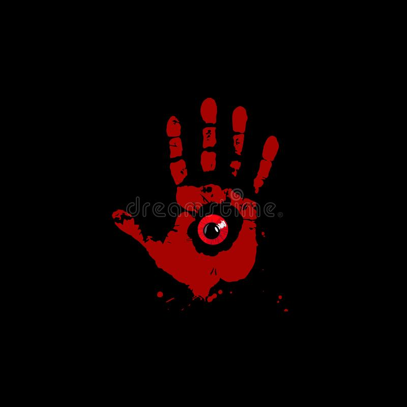 Impresión sangrienta de la mano con el interior rojo del ojo del monstruo aislado en fondo negro stock de ilustración