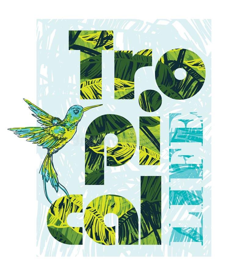 Impresión tropical del verano con el lema para el gráfico y otro de la camiseta ilustración del vector