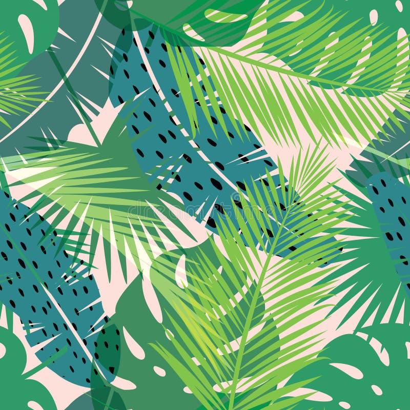Impresión tropical del verano con la palma Modelo inconsútil libre illustration