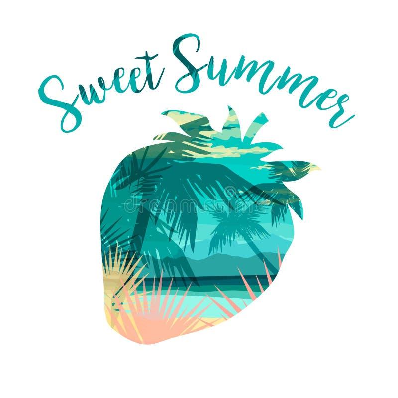Impresión tropical del verano de la playa con el lema para las camisetas, los carteles, la tarjeta y otra aplicaciones ilustración del vector
