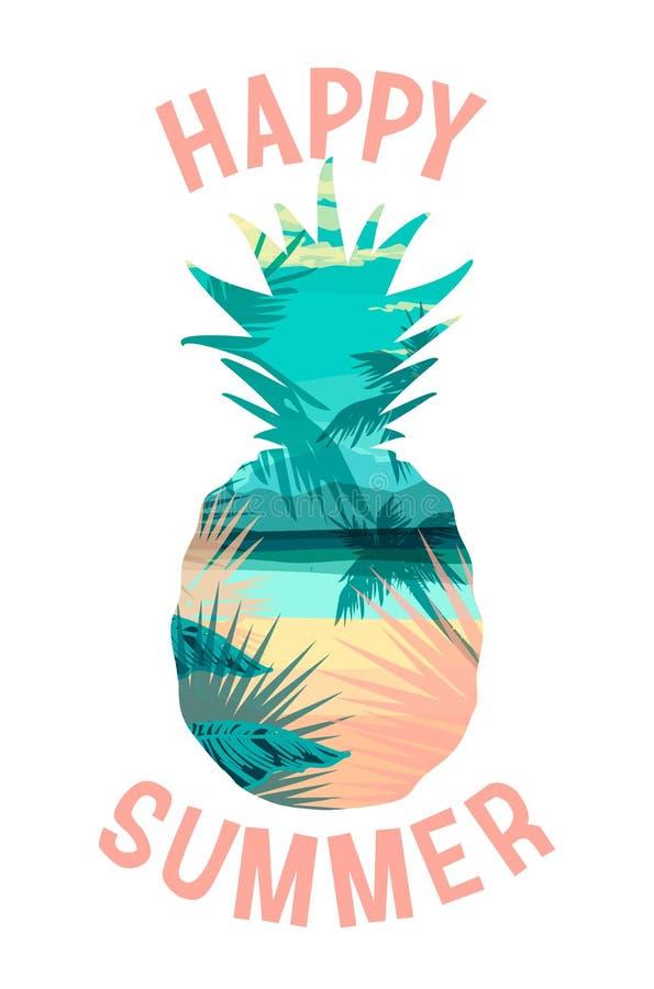 Impresión tropical del verano de la playa con el lema para las camisetas, los carteles, la tarjeta y otra aplicaciones libre illustration