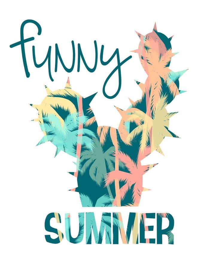 Impresión tropical del verano de la playa con el lema para las camisetas, los carteles, la tarjeta y otra aplicaciones stock de ilustración