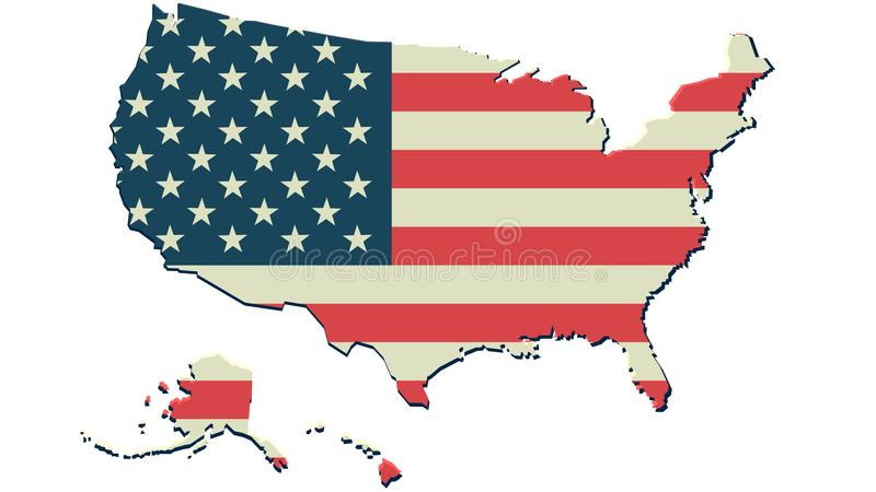 Impresión unida del fondo del mapa de la bandera de América del estado libre illustration