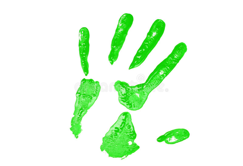Impresión verde de la mano imagen de archivo libre de regalías
