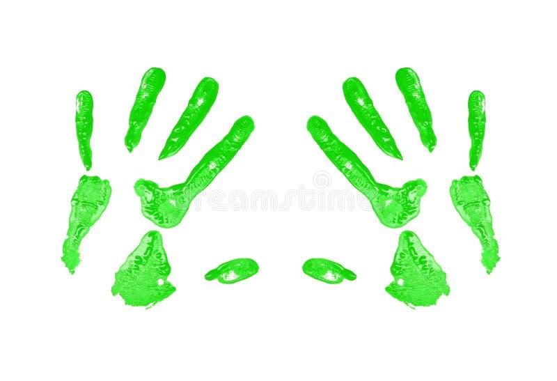 Impresión verde de la mano fotografía de archivo