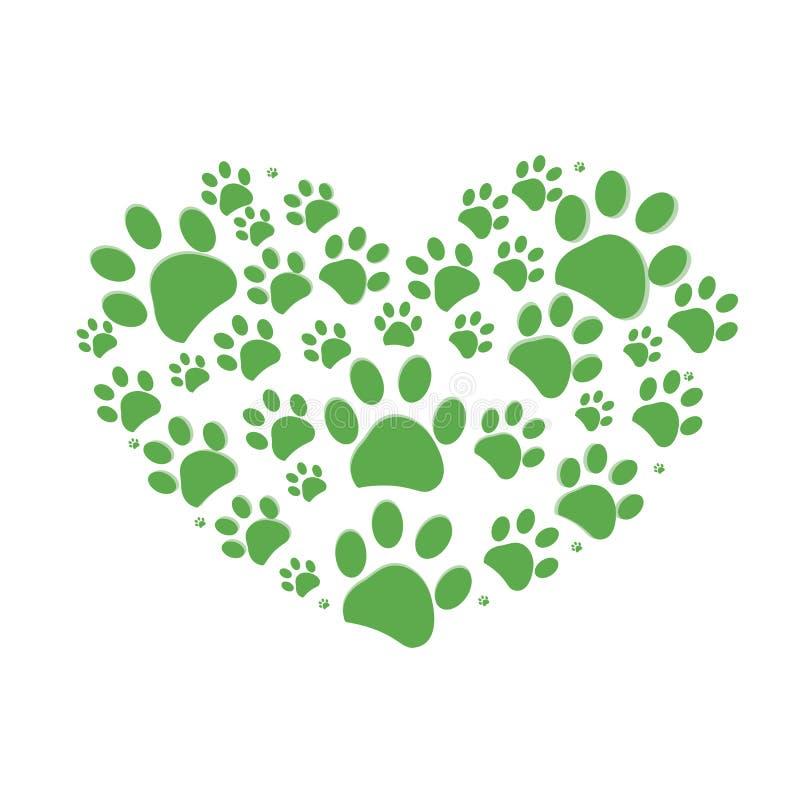 Impresión verde de la pata del perro hecha de vector del corazón ilustración del vector