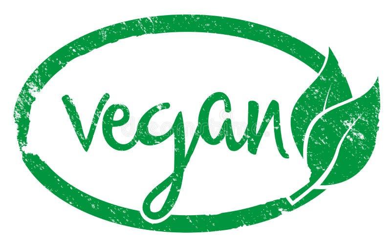 Impresión verde del sello de goma del vegano con las hojas libre illustration