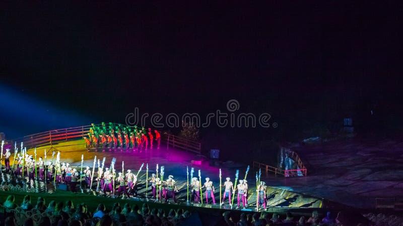 Impresión Wulong que la demostración real de la escena dirigió por Zhang Yimou fotos de archivo