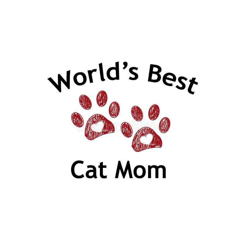 Impresión y corazón rojos de la pata Texto de la mamá del gato del ` s del mundo el mejor Fondo feliz del día del ` s de la madre libre illustration
