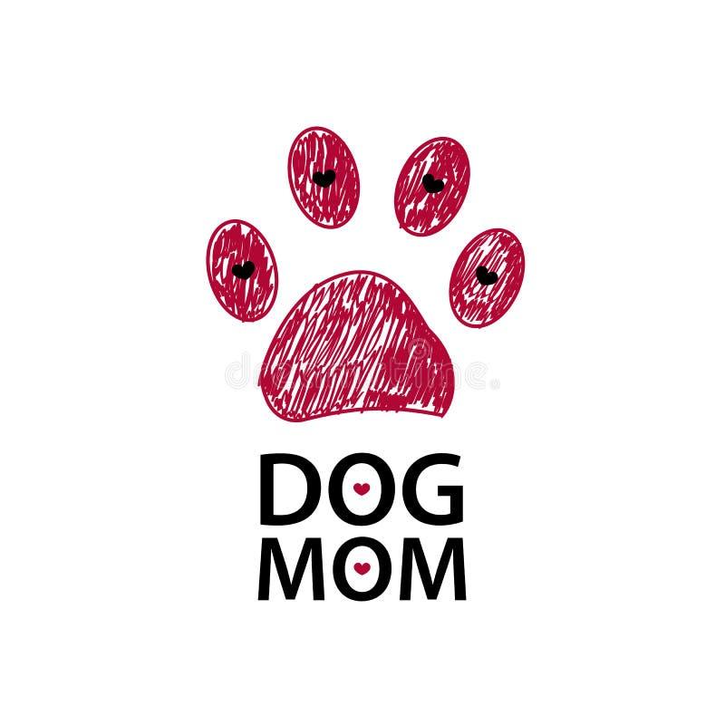 Impresión y corazón rojos de la pata Texto de la mamá del perro Mother& feliz x27; fondo del día de s ilustración del vector