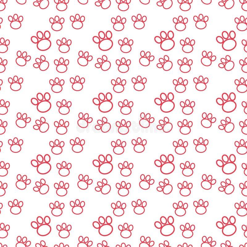 Impresi?n de la pata incons?til Rastros de Cat Textile Pattern Modelo incons?til de la huella del gato Vector incons?til ilustración del vector