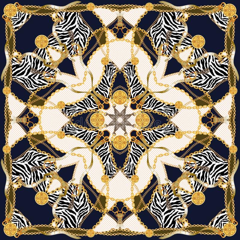 Impresi?n de moda con las cadenas de oro, las correas y el leopardo Modelo incons?til con los elementos del vintage stock de ilustración