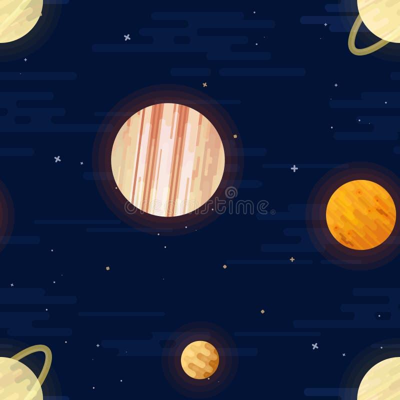 Impresi?n del espacio Modelo incons?til del vector Diversos planetas coloreados de la Sistema Solar y de las estrellas libre illustration