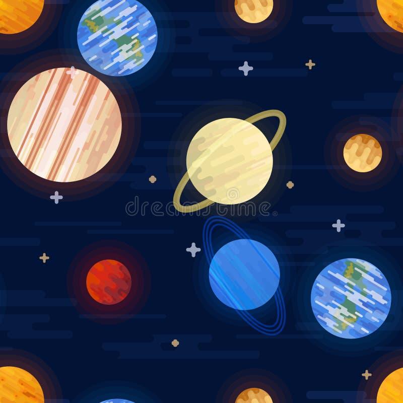 Impresi?n del espacio Modelo incons?til del vector Diversos planetas coloreados de la Sistema Solar y de las estrellas stock de ilustración
