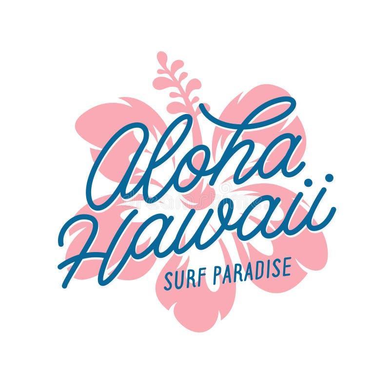 Impresi?n floral de la camiseta de Hawaii de la hawaiana Ejemplo del vintage del vector stock de ilustración