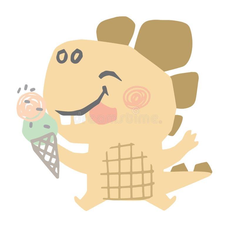 Impresi?n linda del beb? del dinosaurio Dino dulce hace come el helado fotografía de archivo