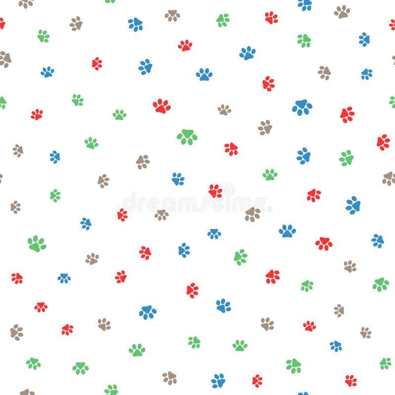 Impresiones coloreadas de la pata de gatos y de perros Modelo inconsútil lindo ilustración del vector
