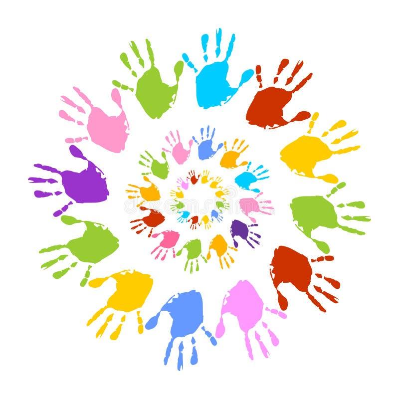 Impresiones coloridas de la mano, sol ilustración del vector