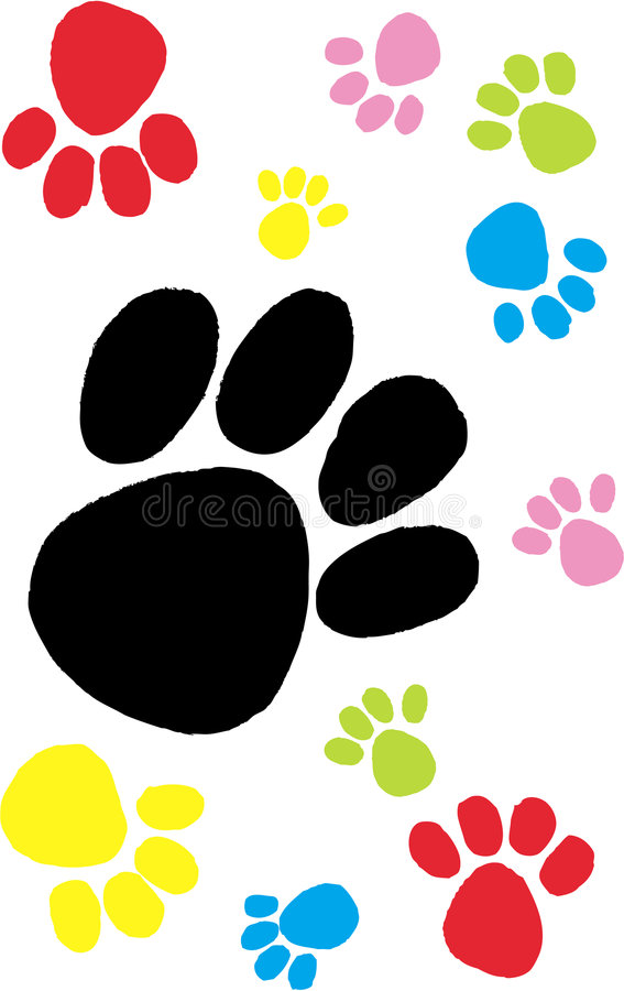 Impresiones coloridas de la pata ilustración del vector