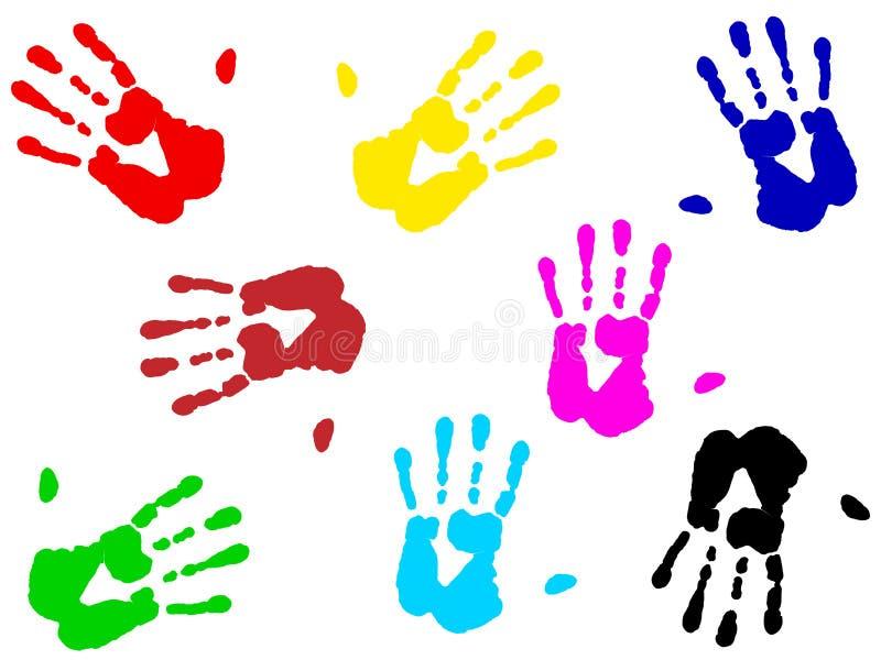 Impresiones de la mano stock de ilustración