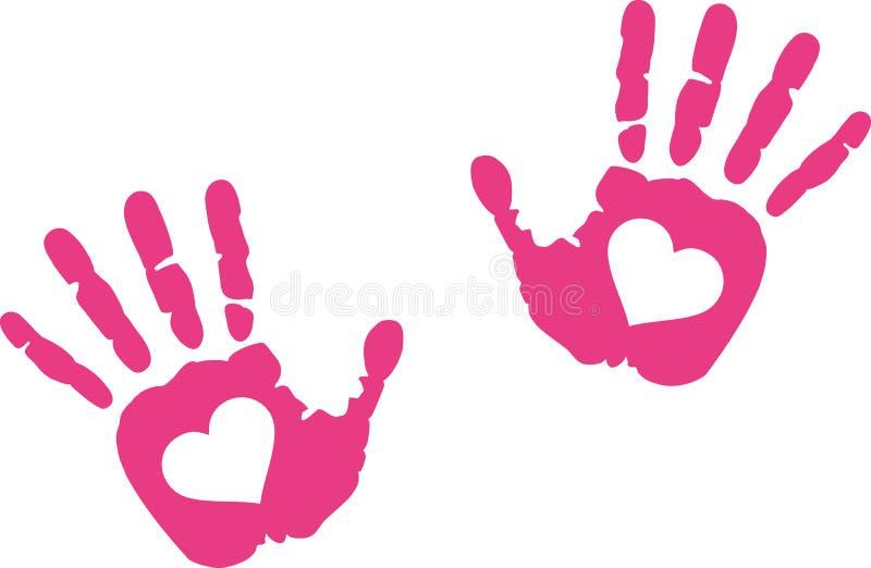 Impresiones de la mano con el corazón en él libre illustration