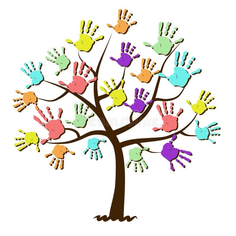 Impresiones de la mano de los niños unidas en árbol stock de ilustración
