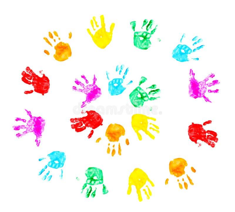 Impresiones de la mano del niño aisladas en un blanco foto de archivo