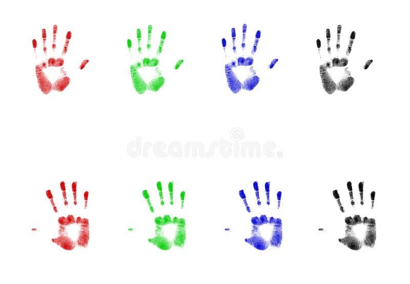 Impresiones de la mano del Rgb ilustración del vector