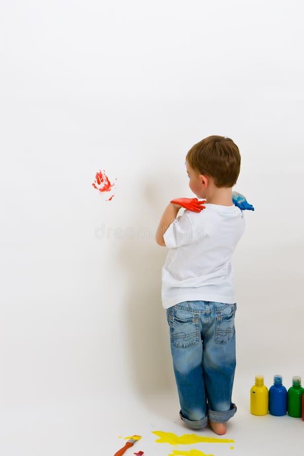 Impresiones de la mano en la pared fotos de archivo libres de regalías