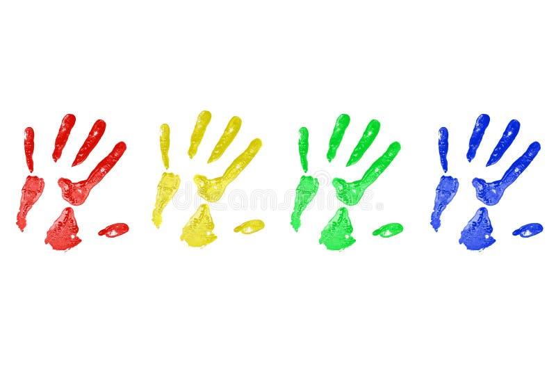 Impresiones de la mano en pintura imagen de archivo