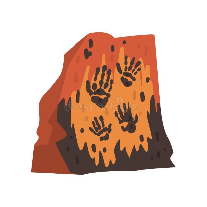 Impresiones de las palmas de la gente prehistórica en piedra, dibujos de la cueva, ejemplo del vector de la ciencia de la arqueol libre illustration