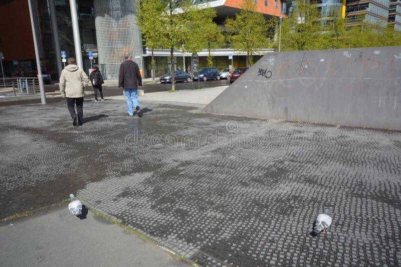 Impresiones del cuadrado de Potsdam, Potsdamer Platz en Berlín a partir del 11 de abril de 2017, Alemania imagen de archivo